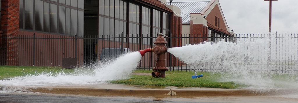 Flushing water from fire hydrant